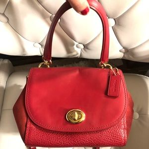 COACH satchel red leather suede